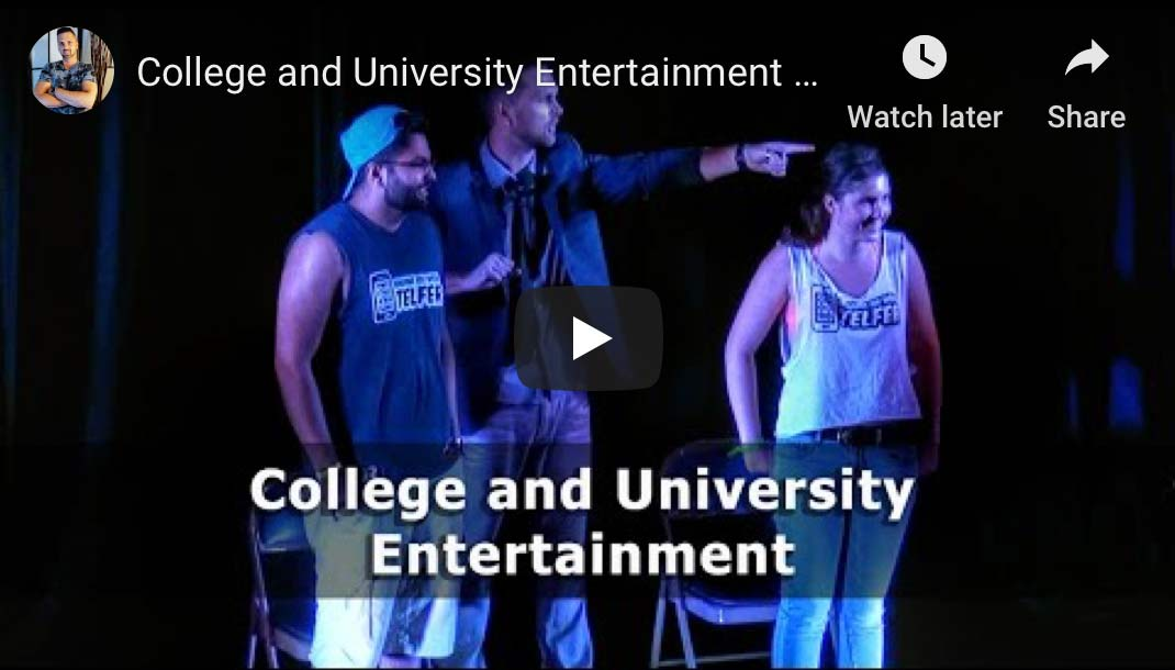 This is a frame grab from our College and University Demo Video, clicking it will take you to our campus entertainment page