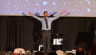 Kitchener, Corporate Entertainment professional presents his illusion show for Spaenaur.