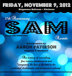 Event Entertainment poster for the SAM awards featuring Aaron Paterson