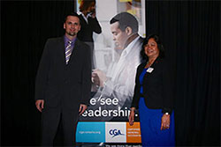 Aaron and Social Commitee Chair at event entertainment evening for CGA.