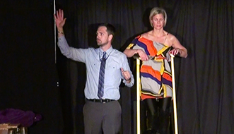 Aaron Paterson makes assistant levitate while performing in Ontario, providing corporate entertainment.